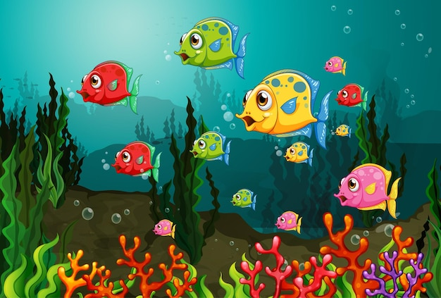 Wiele Egzotycznych Ryb Postać Z Kreskówki W Podwodnej Scenie Z Koralowcami Darmowych Wektorów