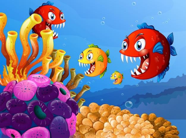 Wiele Egzotycznych Ryb Postać Z Kreskówki W Podwodnym Tle Darmowych Wektorów