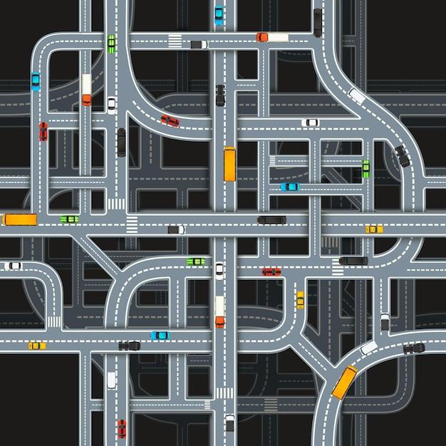 Wiele Skrzyżowań Drogowych Na Ciemnym Tle Z Samochodami, Wzór Widok Z Góry Premium Wektorów