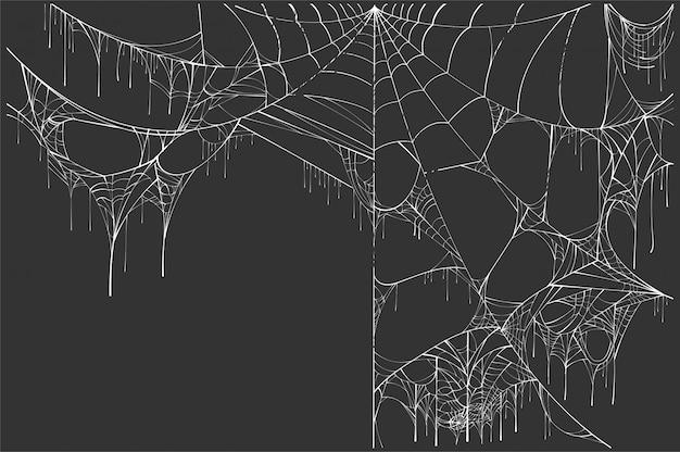 Wielka biała poszarpana pająk sieć na czarnym tle. dekoracje halloween Premium Wektorów