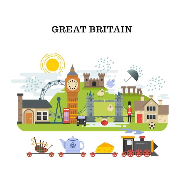 Wielka brytania i londyn wektor podróży koncepcji Premium Wektorów