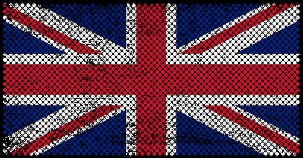 Wielka flaga kindom w stylu grungy Premium Wektorów