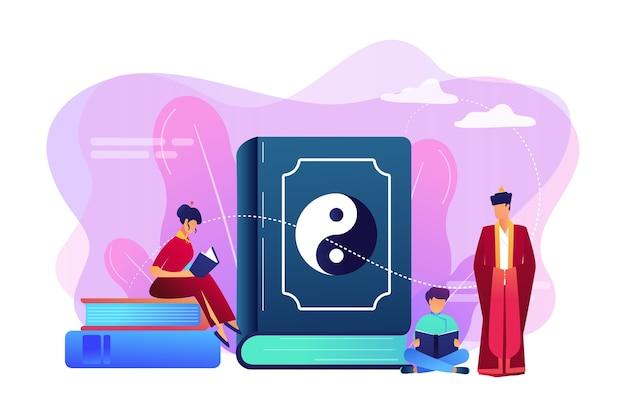 Wielka Książka Z Rodzinnym Czytaniem Yin-yang I Taoizmu, Malutcy Ludzie. Yin Yang Taoizm, Taoizm I Konfucjanizm, Taoizm Koncepcja Filozofii Chińskiej. Darmowych Wektorów