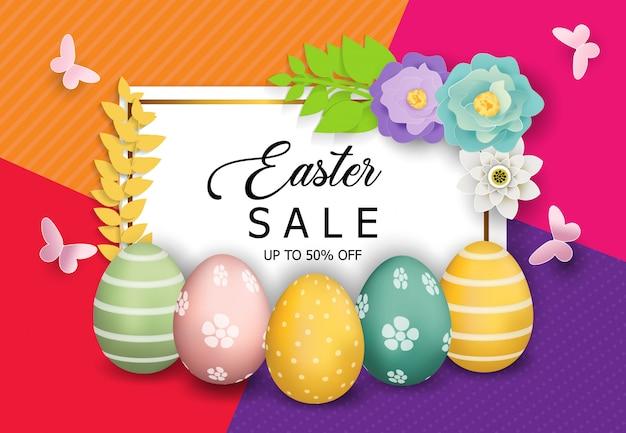 Wielkanoc sprzedaż transparent tło wektor Premium Wektorów