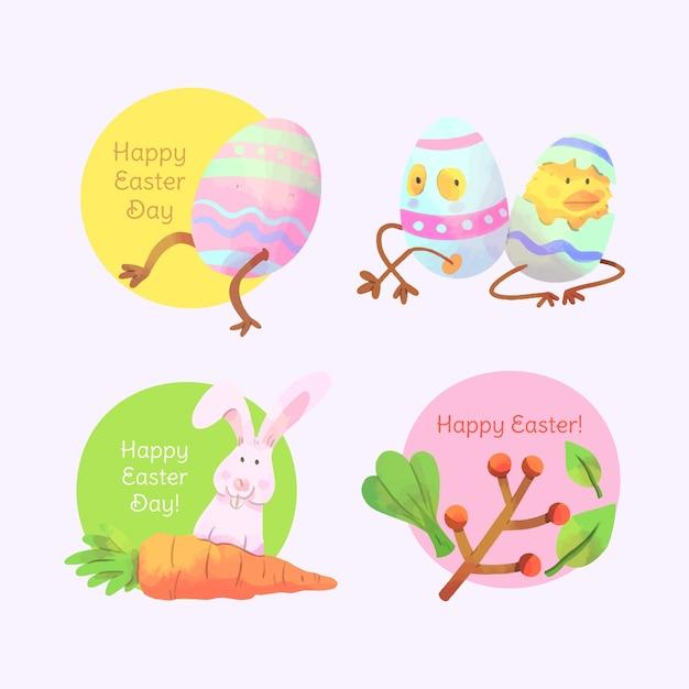 Wielkanocna Akwareli Etykietka Ustawia Jajka Z Nogami Darmowych Wektorów