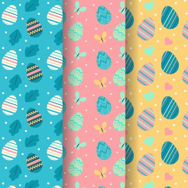 Wielkanocna Bezszwowa Deseniowa Ręka Rysująca Z Kolorowymi Jajkami Darmowych Wektorów