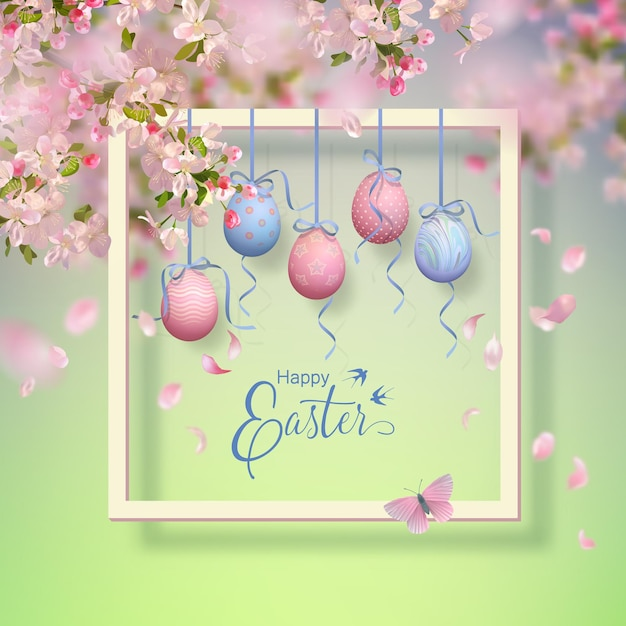 Wielkanocna Ozdobna Ramka Z Kwitnącymi Wiosennymi Gałęziami, Wiszącymi Malowanymi Jajkami I Spadającymi Płatkami Premium Wektorów