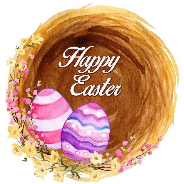 Wielkanocne Gniazdo Z Kolorowymi Zdobionymi Jajkami I Kwitnącymi Kwiatami Premium Wektorów