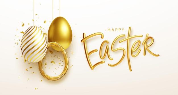 Wielkanocne Powitanie Tło Z Realistycznymi Złotymi, Niebieskimi, Białymi Pisankami. Ilustracja Wektorowa Eps10 Darmowych Wektorów