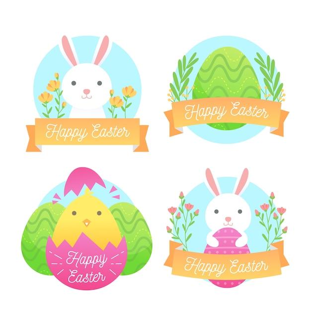 Wielkanocne Tradycyjne Elementy Etykiety Kolekcja Płaska Konstrukcja Darmowych Wektorów