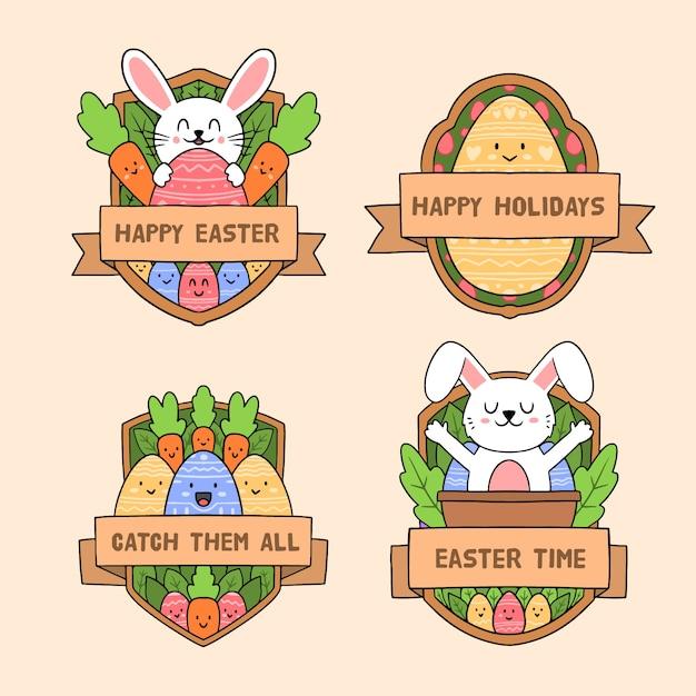 Wielkanocne Tradycyjne Elementy Etykiety Kolekcja Ręcznie Rysowane Darmowych Wektorów