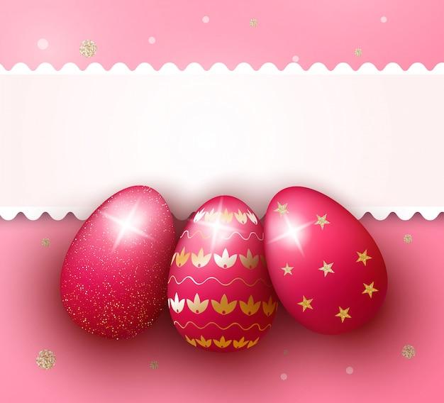 Wielkanocnego dnia tło z realistycznymi 3d różowymi jajkami Premium Wektorów
