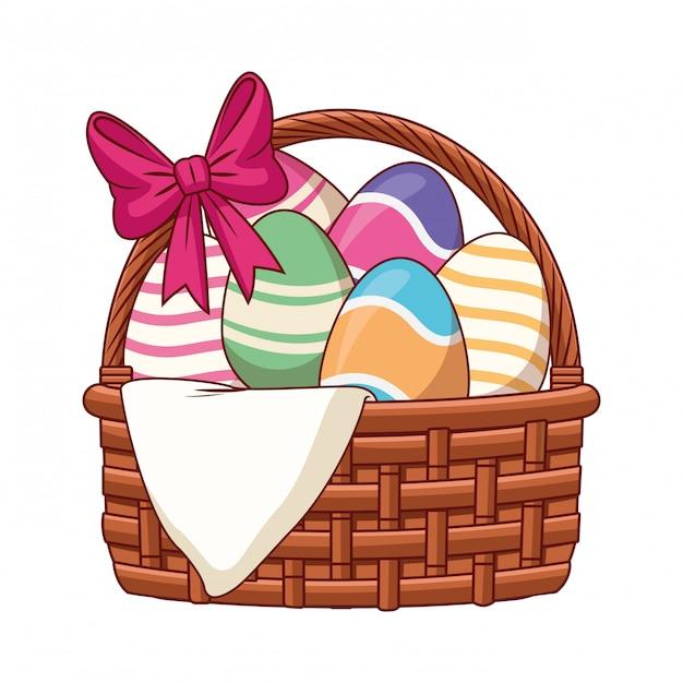 Wielkanocnego jajka kosz z faborkiem odizolowywającym Premium Wektorów