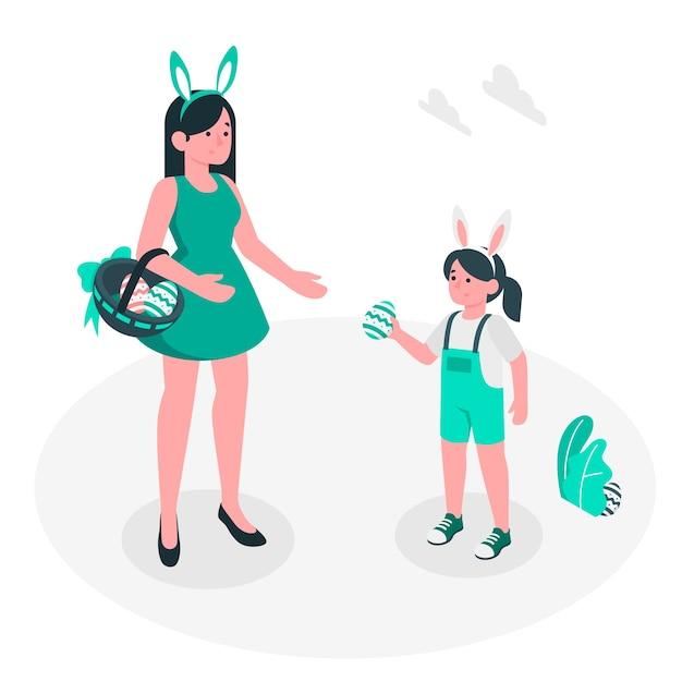 Wielkanocnego jajka polowania ilustraci pojęcie Darmowych Wektorów