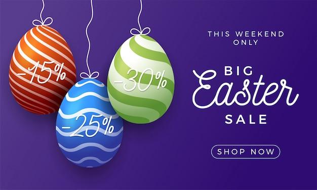 Wielkanocny Jajko Sprzedaż Poziomy Baner. Premium Wektorów