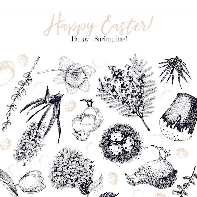 Wielkanocny kartka z pozdrowieniami Premium Wektorów