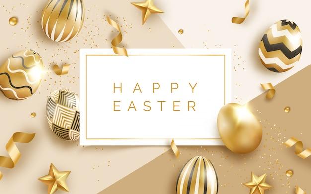 Wielkanocny Kartkę Z życzeniami Z Realistyczne Złote Zdobione Jajka, Wstążki, Kulki I Tekst. Premium Wektorów