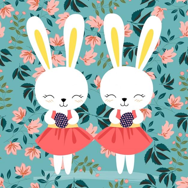 Wielkanocny królik w różowego kwiatu bezszwowym wzorze Premium Wektorów