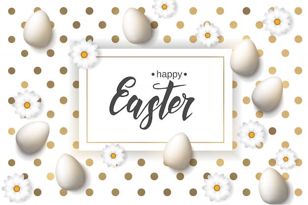 """Wielkanocny Plakat Z Jajkami I Rumiankiem, Ręcznie Robiony Modny Napis """"wesołych świąt"""" Na Wzorze Złotych Kropek. Premium Wektorów"""