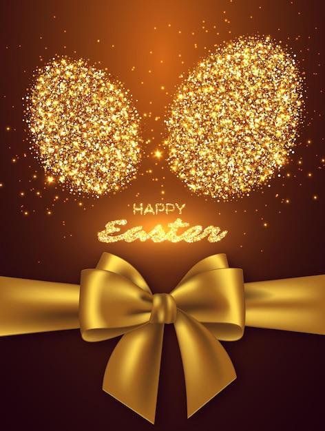 Wielkanocny Projekt świąteczny Z Brokatowym Jajkiem I Realistyczną Złotą Kokardką. Darmowych Wektorów