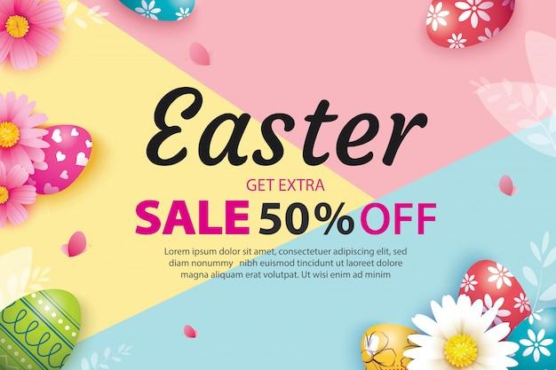 Wielkanocny Sprzedaż Sztandaru Szablon Z Jajkami I Kwiatem. Premium Wektorów