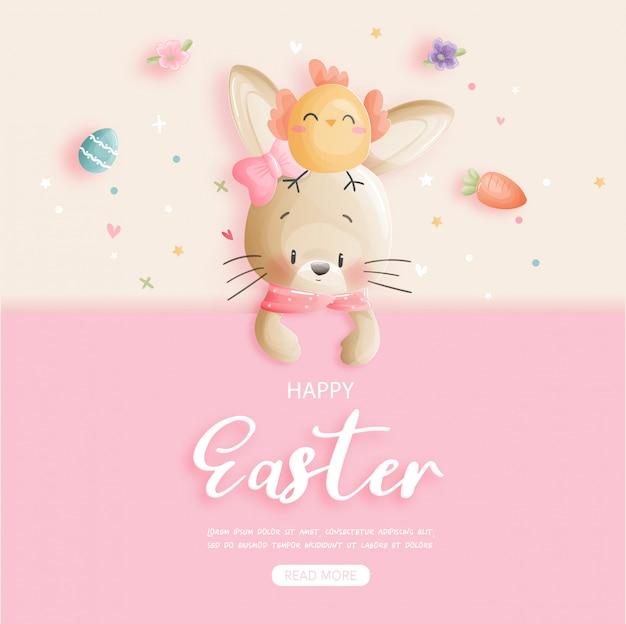 Wielkanocny Sztandar Z ślicznym Królikiem I Wielkanocnymi Jajkami. Premium Wektorów