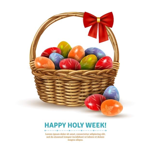 Wielkanocny wiklinowy koszyk realistyczny obraz Darmowych Wektorów
