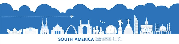 Wielki Cel Podróży W Ameryce Południowej Premium Wektorów