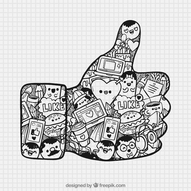 Wielki Kciuk W Górę Z Ręcznie Rysowanych Elementów Darmowych Wektorów