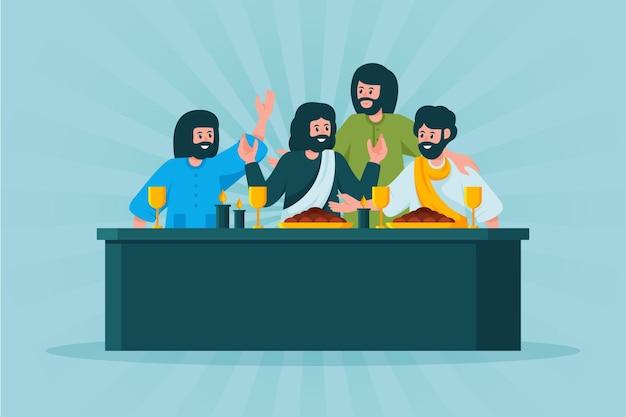 Wielki Piątek Ilustracja Z Jezusem I Uczniami Na Uczcie Darmowych Wektorów