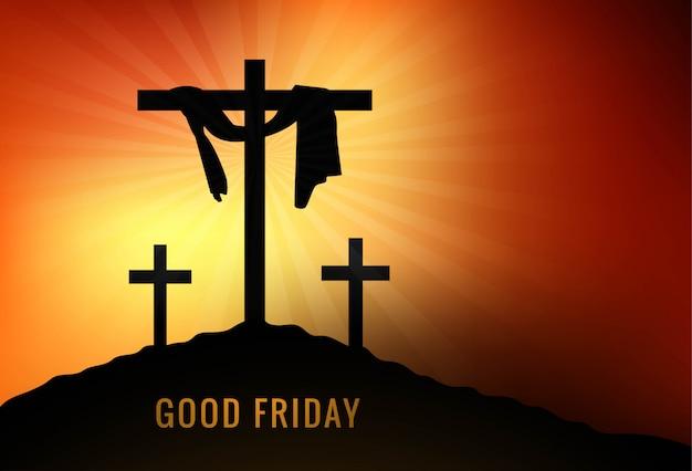 Wielki Piątek Tło Z Krzyżem I Promieniami Słońca Na Niebie Darmowych Wektorów