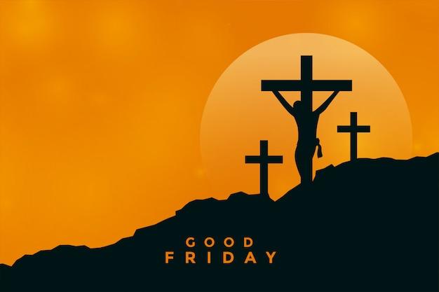 Wielki Piątek Tło Ze Sceną Ukrzyżowania Jezusa Chrystusa Darmowych Wektorów