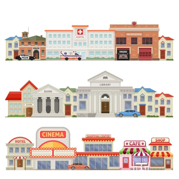 Wielkie Miasto Trzy Kolorowe Sylwetki Na Tle Nieba Z Historycznymi I Edukacyjnymi Usługami Miejskimi, Domy Komercyjne Na Białym Tle Ilustracji Wektorowych Darmowych Wektorów