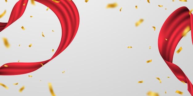 Wielkie Otwarcie Karty Z Czerwoną Wstążką Szablon Ramki Brokat Tła. Premium Wektorów