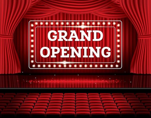 Wielkie Otwarcie. Otwórz Czerwone Zasłony Z Neonami. Ilustracji Wektorowych. Scena Teatralna, Operowa Lub Kinowa. Premium Wektorów