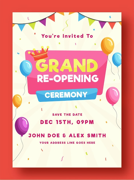 Wielkie Ponowne Otwarcie Ceremonii Ulotki Lub Projektu Szablonu Ozdobione Balonami I Koroną Ilustracji Premium Wektorów