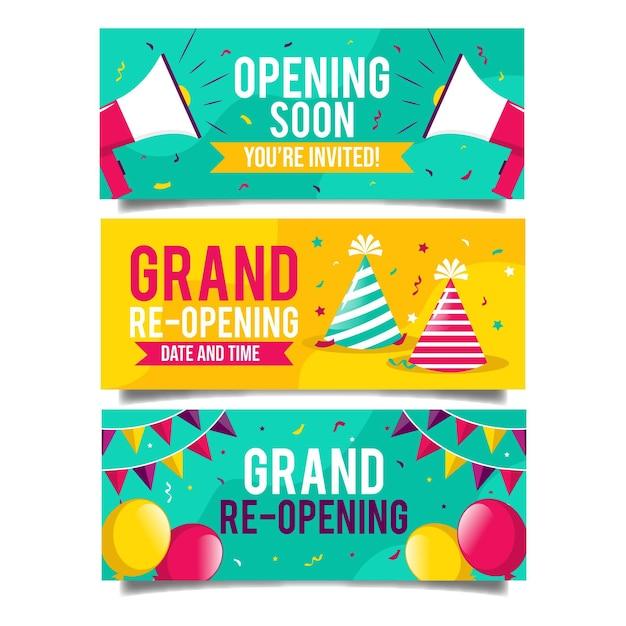Wielkie, Ponownie Otwierane Banery Z Balonami I Imprezowym Kapeluszem Premium Wektorów