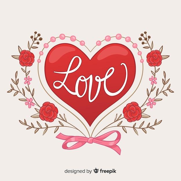 Wielkie Serce Z Kwiatów Tła Darmowych Wektorów