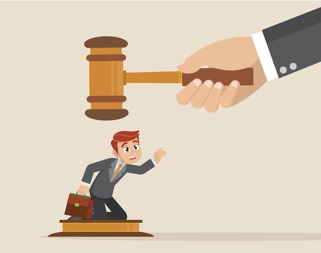 Wielkiego sędziego młoteczka na mały biznesmen. Premium Wektorów