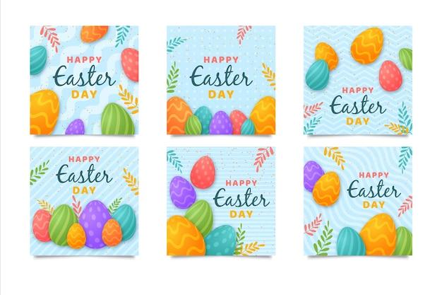 Wielobarwny Wielkanocny Zbiór Historii Na Instagramie Darmowych Wektorów