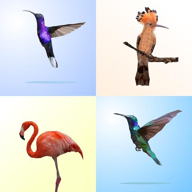 Wielokątna geometria ptaka i flaminga Premium Wektorów