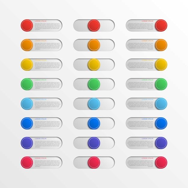 Wielokolorowe okrągłe przyciski interfejsu z polami tekstowymi Premium Wektorów