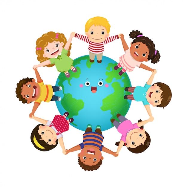 Wielokulturowe Dzieci Trzymające Się Za Ręce Na Całym świecie. Szczęśliwego Dnia Dziecka. Premium Wektorów