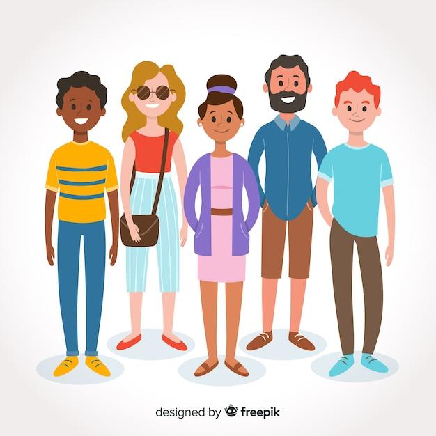 Wielorasowa grupa różnych ludzi Darmowych Wektorów