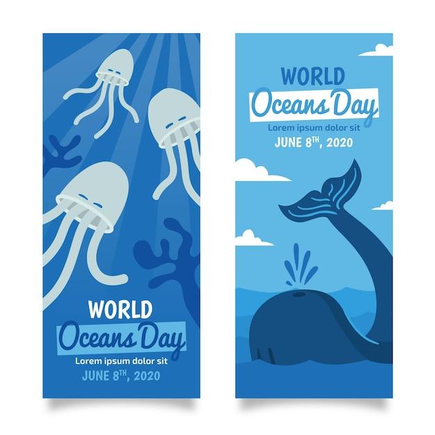 Wieloryb I Meduza Ręcznie Rysowane Ocean Dzień Transparent Darmowych Wektorów