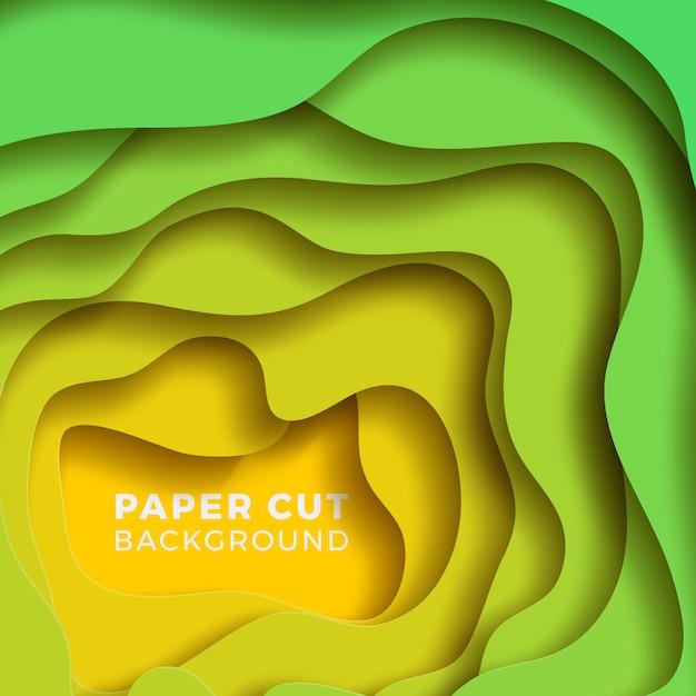 Wielowarstwowe kolorowe realistyczne tło papercut. Premium Wektorów