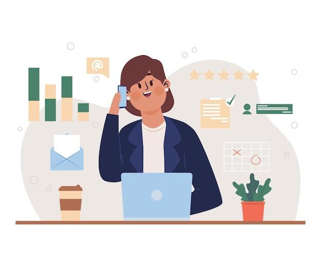Wielozadaniowa Kobieta Biznesu Ilustrowana Darmowych Wektorów