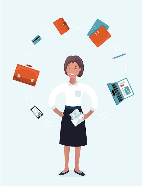 Wielozadaniowy Kuglarz Bizneswoman Z Materiałami Biurowymi Premium Wektorów