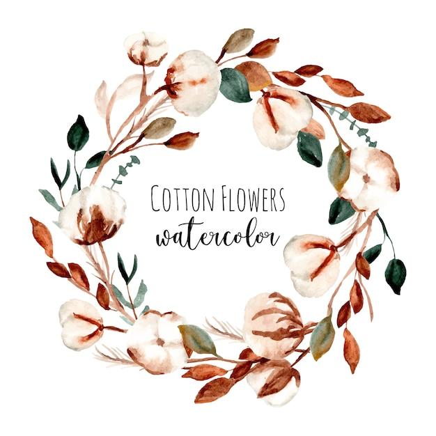 Wieniec akwarela kwiat bawełny Premium Wektorów