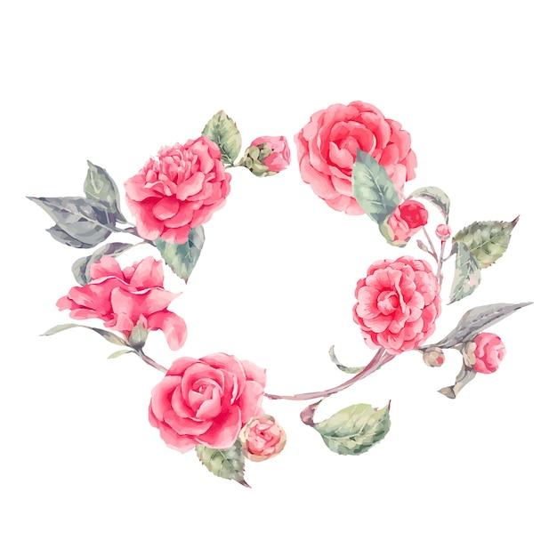 Wieniec Koronkowy Z Kwiatami Kamelii Premium Wektorów